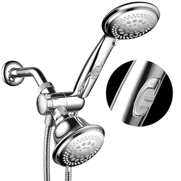 HotelSpa 1465 Fba Ultra Luxury 42 Setting Head/Handheld Shower Combo with Patented on/Off Pause Switch and 5-7 Foot Stretchable Stainless Steel Hose/Premium, Chrome