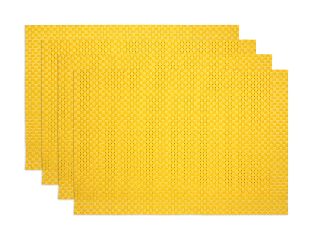 Ritz TechStyle Reversible Rectangular Woven Table Placemats, 19-inches by 13-inches, Set of 4, Lemon Yellow Placemats
