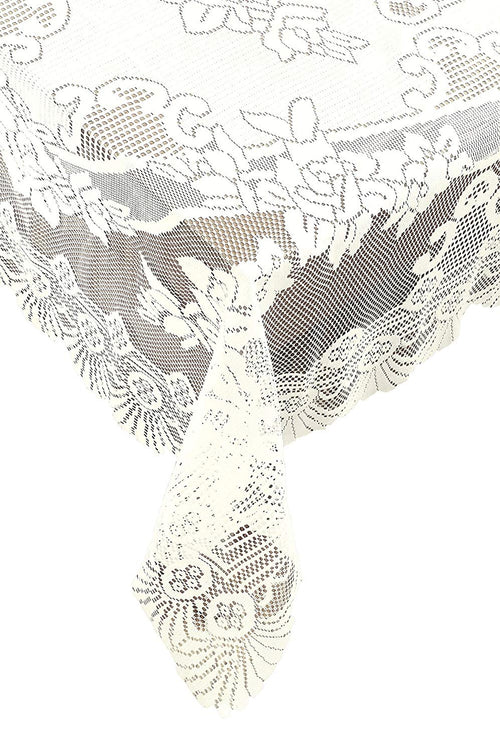 Ritz Oblong Lace Tablecloth, 53-Inch by 73-Inch, Ivory