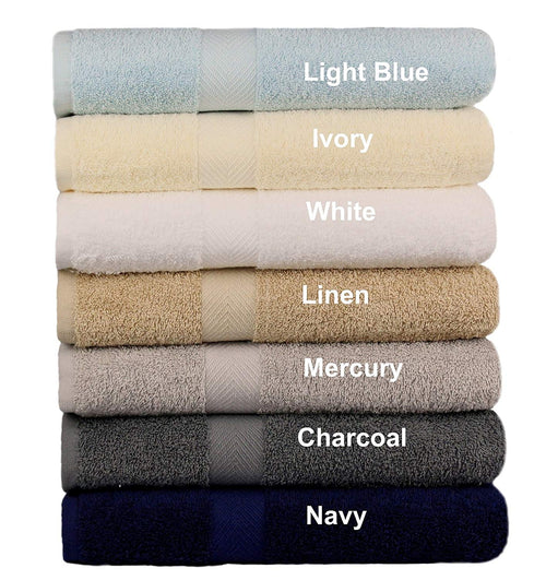 Cotton Craft - 7 Pack Multi Color Bath Towels - 100% Ringspun Cotton - 27x52 – Light Weight 450 Grams – Quick Drying and Highly Absorbent - Colors - Ivory, Light Blue, White, Linen, Mercury, Charcoal