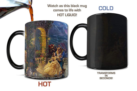 Morphing Mugs Thomas Kinkade Disney's Beauty and the Beast Dancing in the Moonlight Painting Heat Reveal Ceramic Coffee Mug - 11 Ounces