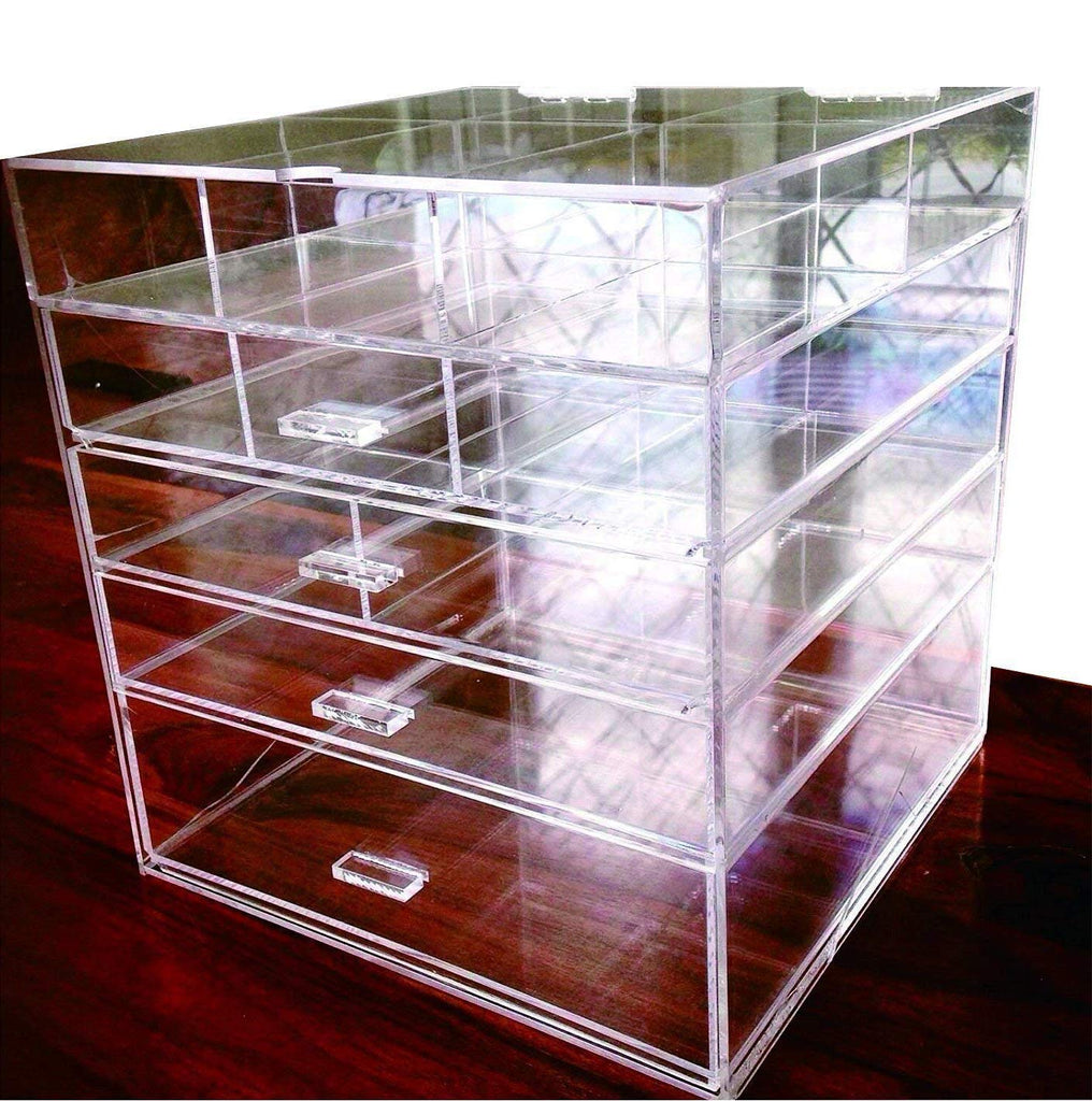 "Cq acrylic Large 5 Drawers and 11 Grids Acrylic Makeup Organizer 10""x10""x11"",Pack of 1"