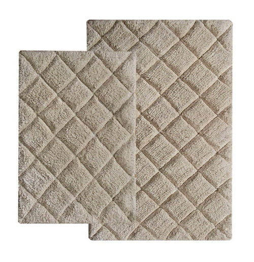 Chardin Home - 100% Cotton 2 Piece Impression Bath Rug Set, (21''x34'' & 17''x24'') Beige
