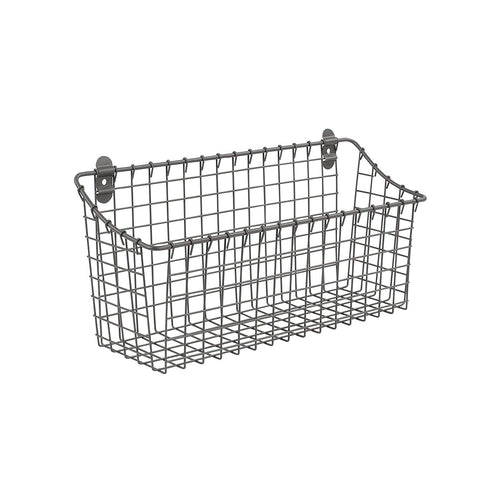 "Spectrum Diversified Vintage Wall Mount Storage Basket, 15"" x 5"" x 7"", Industrial Gray"