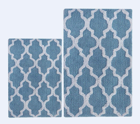 Chardin home 100% Pure Cotton - 2 Piece Damask Bath Rug Set (21''x34'' & 17''x24'') with Latex spray anti-skid backing, Smoke Blue White