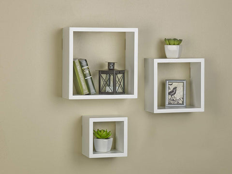 MELANNCO Square Wood Shelves Set, White, Set of 3