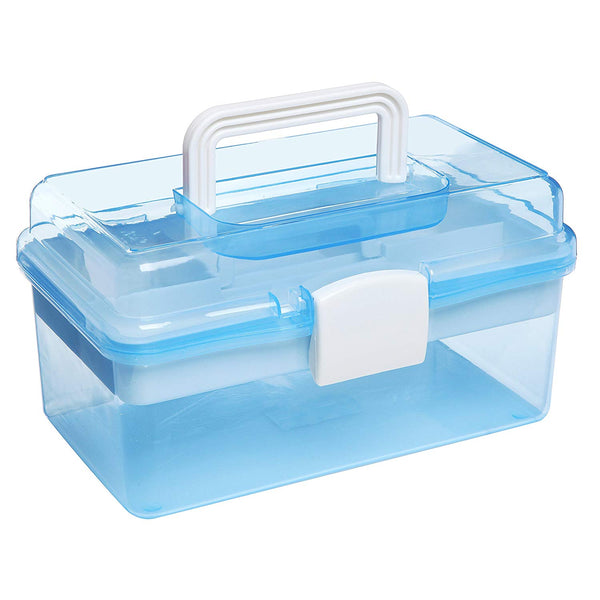 "10"" Clear Light Blue Plastic Multipurpose Portable Handled Organizer Storage Box / Case w/ Removable Tray"