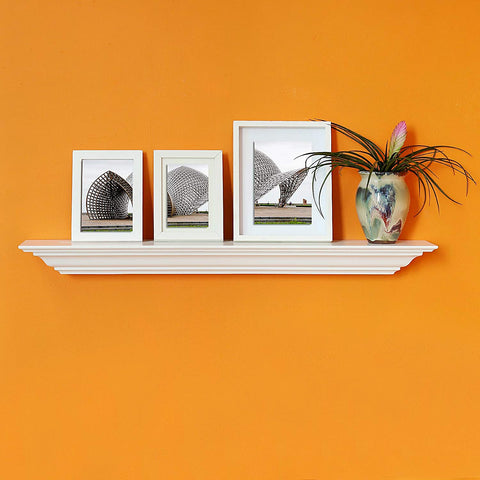 WELLAND Corona Crown Molding Floating Wall Picture Ledge Shelf (36-Inch White)