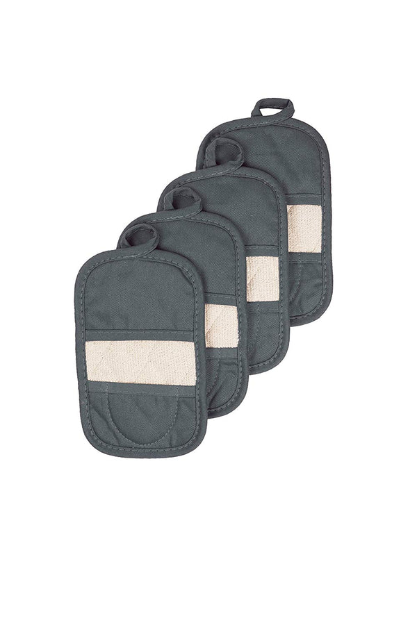 Ritz Royale Collection 100% Cotton Terry Cloth Ritz Mitz, Dual-Function Pot Holder / Oven Mitt Set, 4-Pack, Graphite