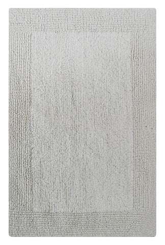 Chardin home 100% Pure Cotton - Splendor reversible Bath Rug, 21''x34'' highly absorbent & heavy duty bathroom mat, White