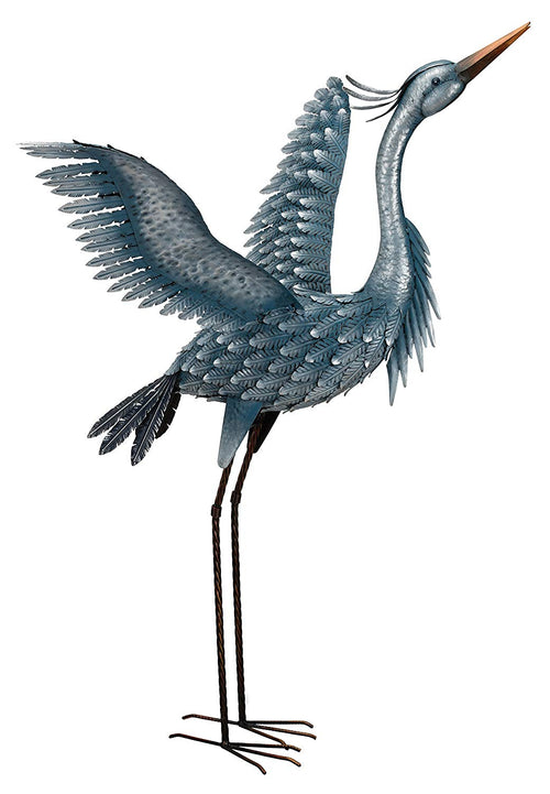 "Regal Art & Gift 11778 Metallic Heron-Wings up Bird Statuary, 47"", Blue"