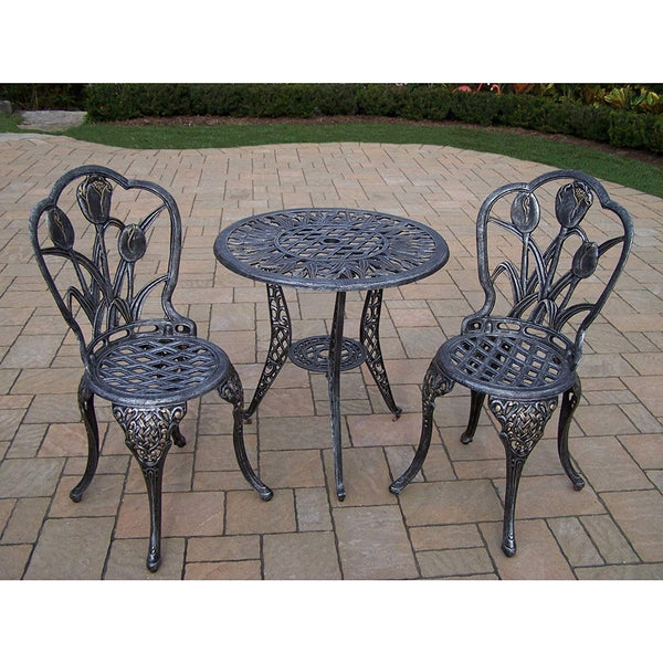 Oakland Living Corporation Tierra 3 Piece Bistro Set with 26-inch Table and 2 Chairs