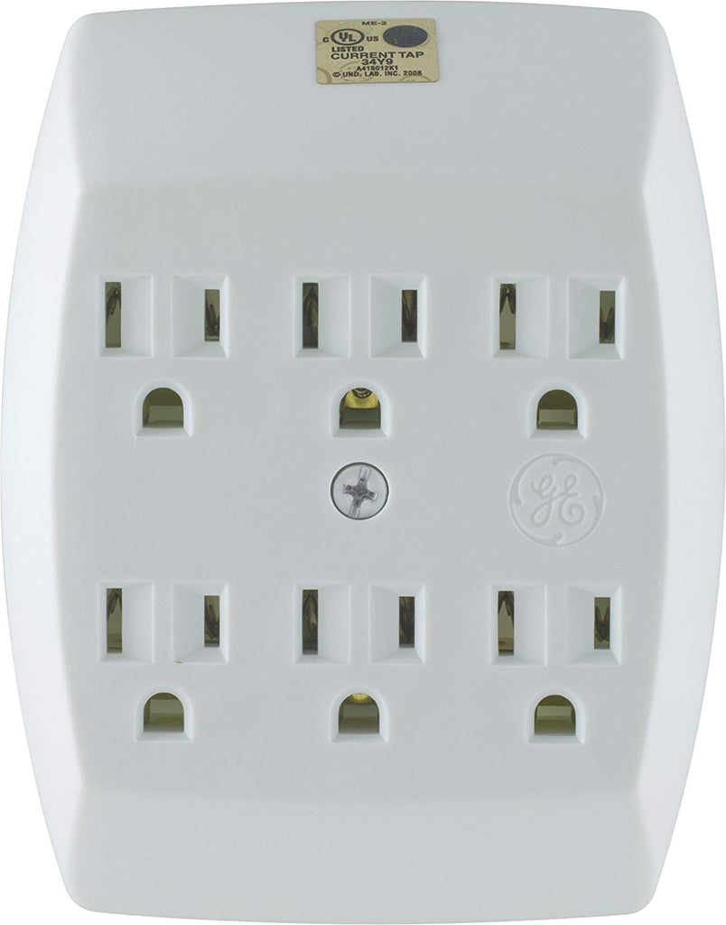 GE 6-Outlet Tap, Grounded, White