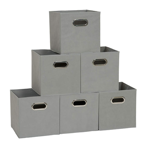 Household Essentials Set of 6 Cubby Cubes with Handles 84-1 Foldable Fabric Storage Bins Teafog, 6 lbs, Grey