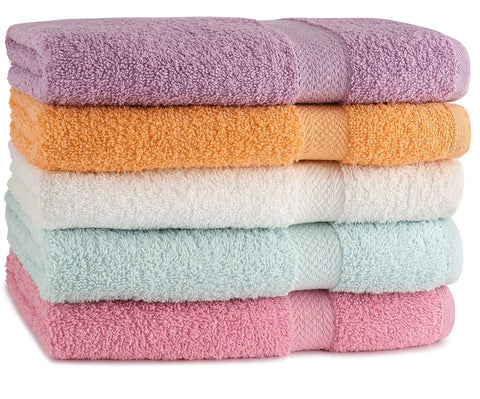 "TowelFirst 5-Pack Extra-Absorbent Bath Towel Set - Large, 27"" x 54"", 100% Cotton Bath Towels - Soft and Quick Drying - Best for Bath, Pool and Guest Use, Bonus - 2 12""x12"" Washcloths (Pastel)"