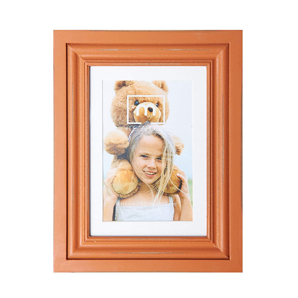 "MELANNCO Distressed Orange Frame, 4"" x 6"""