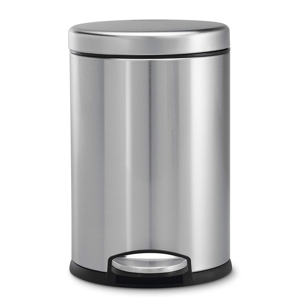 simplehuman Round Step Trash Can, Fingerprint-Proof Brushed Stainless Steel, 4.5-Liter /1.2-Gallon
