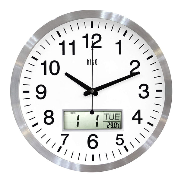 hito Silent Wall Clock Non Ticking 14 inch Large Oversized Date Day Indoor Temperature, Excellent Accurate Sweep Movement Silver Aluminum Frame, Decorative for Living Room, Bedroom, Office (LCD-S)