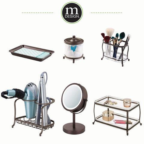 mDesign MetroDecor Countertop Hair Care Tools Holder for Hair Dryer, Flat Iron, Curling Wand, Straightener, Bronze