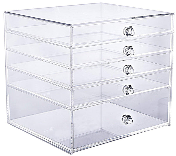 "Cq acrylic Large 5 Drawers Makeup Organizer and Acrylic Cosmetics Storage Cases,9.5"" X 9"" X 8.7"",Clear,Pack of 1"