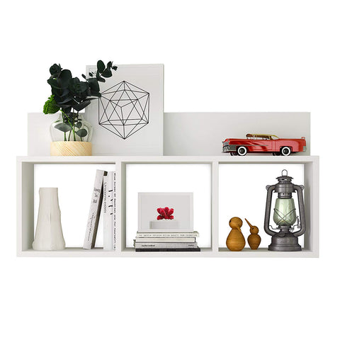 Danya B. XF170517WH Triple Cubed Floating Shelf with Ledge- Easy to Hang Wall Mount Cubbie Shelf - White