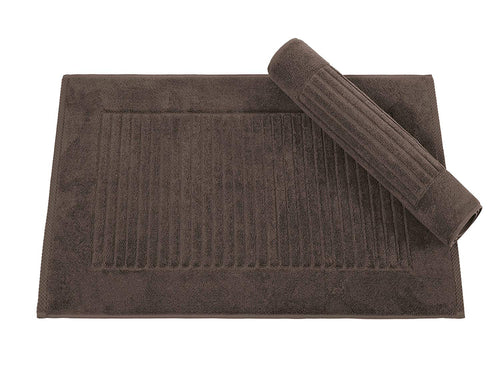 Classic Turkish Towels 2 Piece Bath Mat Set 20 x 33 inch - Soft and Absorbent Ribbed Bath Mats Made with 100% Turkish Cotton,Chocolate