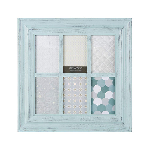MELANNCO 6-Opening Window Pane Wall Mount Collage Picture Frame, Pale Green