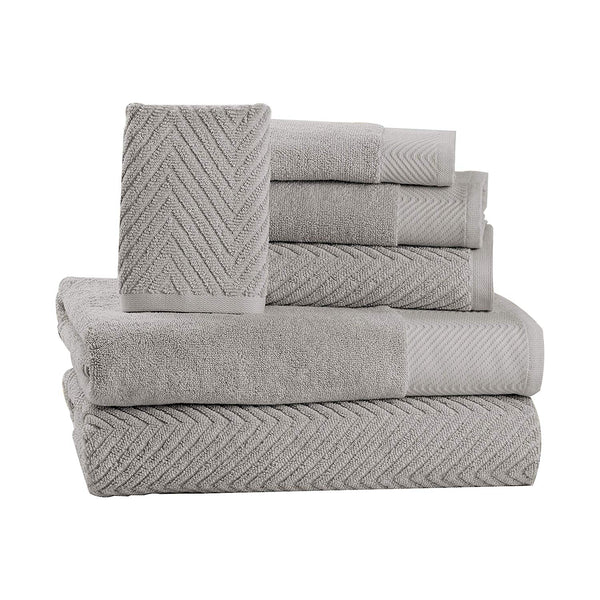 6 Piece Premium Cotton Bath Towels Set - 2 Bath Towels, 2 Hand Towels, 2 Washcloths Machine Washable Super Absorbent Hotel Spa Quality Luxury Towel Gift Sets Chevron Towel Set - Platinum