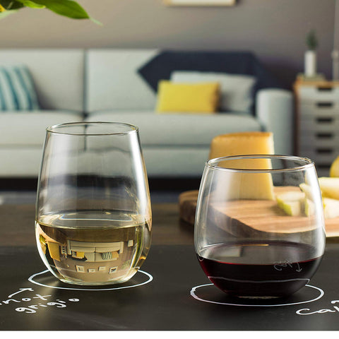 Libbey Stemless Wine Glasses for Red and White Wines, Set of 12