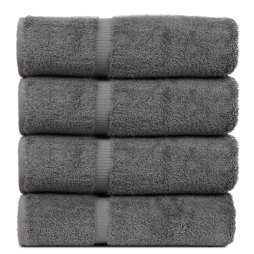 BC BARE COTTON Luxury Hotel & Spa Towel Turkish Cotton Bath Towels - Gray - Dobby Border - Set of 4