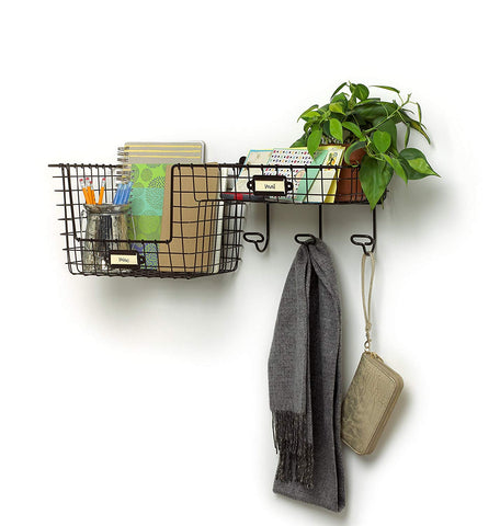 Spectrum Diversified Vintage Entryway Station, Coat Hanger, Storage Basket, Wall Mount Bronze