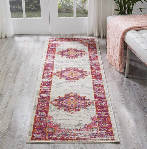 "Nourison Passion Distressed Vintage Ivory/Fuchsia Area Rug Runner 2'2"" x 7'6"""