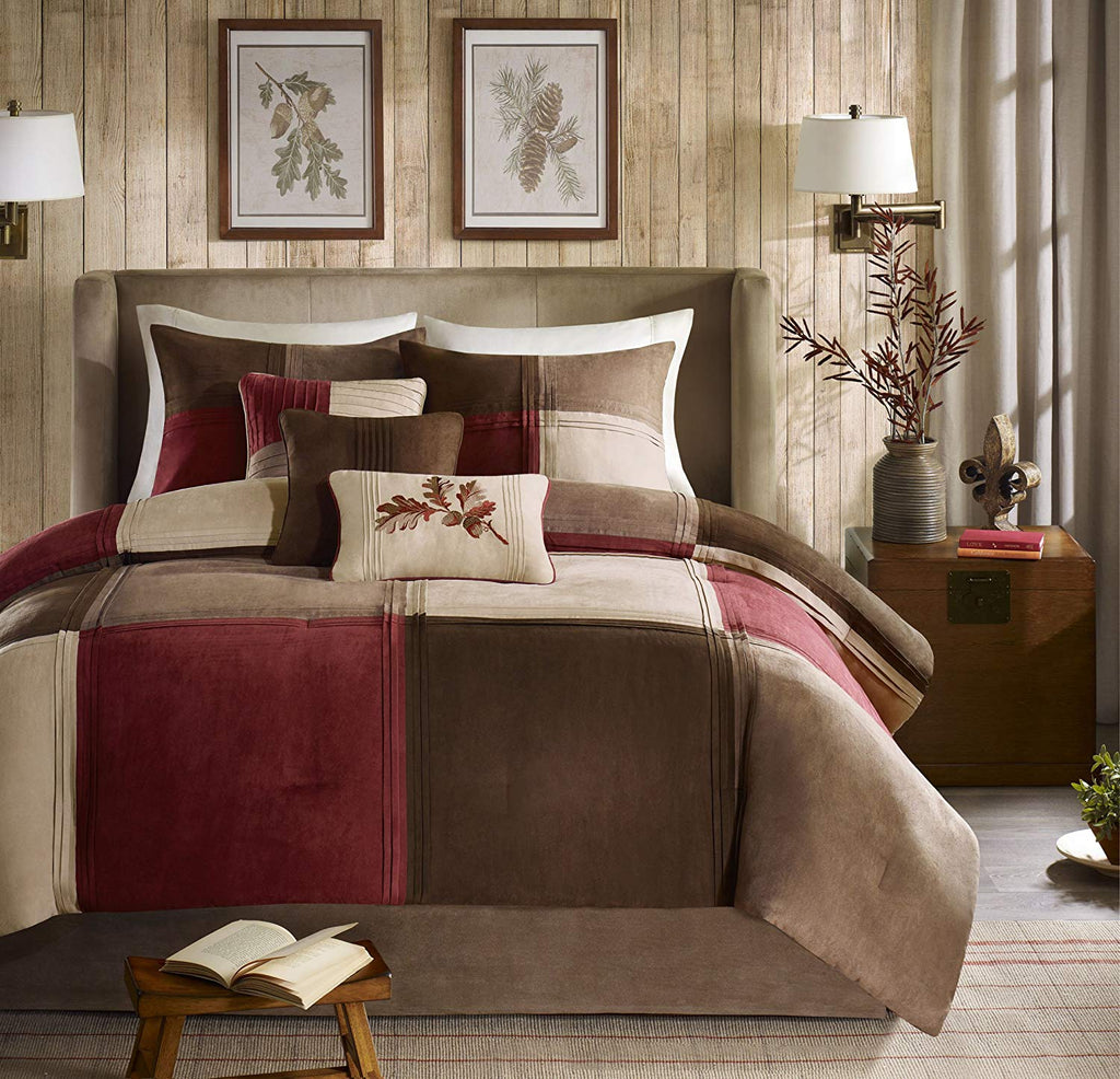 Madison Park Jackson Blocks Queen Size Bed Comforter Set Bed in A Bag - Burgundy, Tan, Pieced Colorblock – 7 Pieces Bedding Sets – Faux Suede Bedroom Comforters