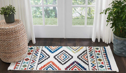 "Nourison Tribal Decor TRL06 Traditional Colorful White Area Rug 2 Feet 2 Inches by 4 Feet 3 Inches, 2'2""X4'3"""