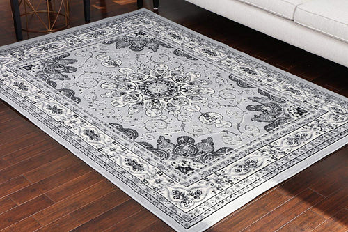 Generations Collection 100% Olefin Grey Silver White Oriental Traditional Isfahan Persian Area Rugs Rug 8023silver 2 x 3