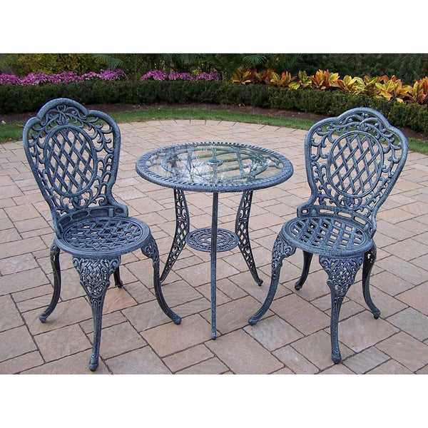 Oakland Living Corporation Dakota Tempered Glass Top Cast Aluminum 3-piece Bistro Set