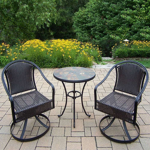 Oakland Living Corporation Hometown 3 Piece Bistro Set with Table and Sedona Wicker Swivel Chairs