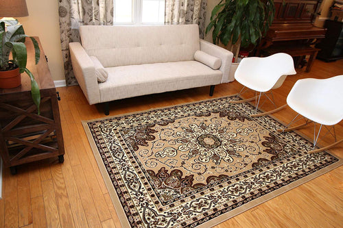 Generations Oriental Traditional Isfahan Persian Area Rug, 2' x 7', Brown/Beige