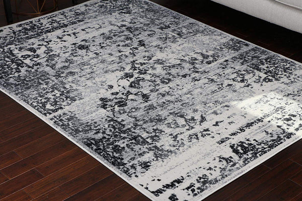 Generations 100% Olefin Grey Silver White Oriental Traditional Antique Isfahan Persian Area Rugs Rug 8060white 2 x 7'6