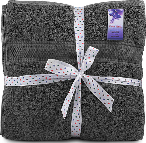 Utopia Towels 700 GSM Premium Bath Towels - 4 Pack Towels - (27 x 54 Inches) - 100% Ring-Spun Cotton Towels for Home, Hotel and Spa – Towels Set with Maximum Softness and High Absorbency, (Grey)