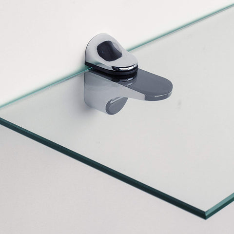 Danya B Set of 2 Clear Glass Floating Shelves with Chrome Brackets