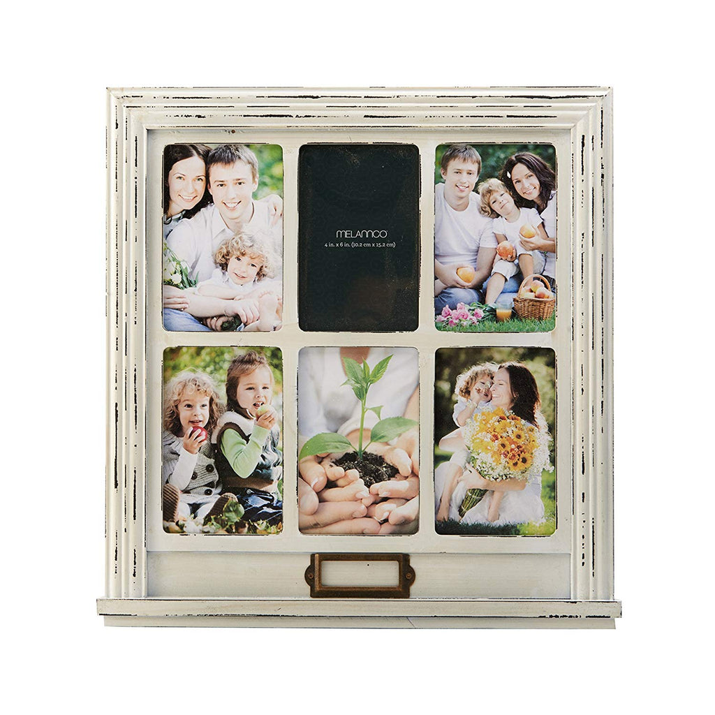 MELANNCO 6-Opening Distressed Window Collage (White, 15.35x0.75x15.94-Inch)