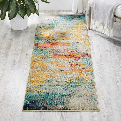 "Nourison Celestial Modern Abstract Area Rug Runner, 2'2"" x 7'6"", Multicolor Grey"