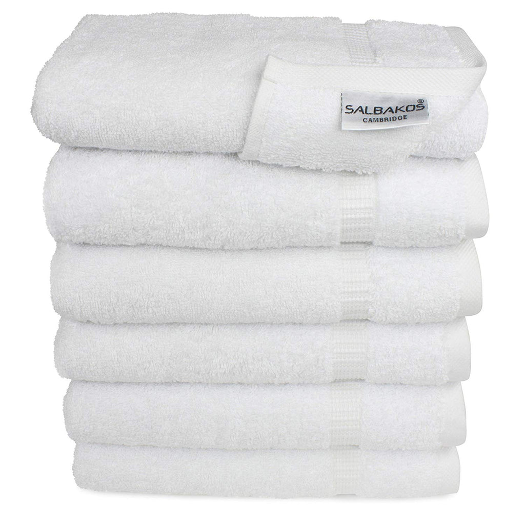 SALBAKOS Hand Towels for Bathroom, White Cotton, 6 Bulk Pack, 100 Percent Genuine Turkish Cotton, Luxury Hotel and Spa Quality, 700gsm OEKO-TEX Organic Eco-Friendly, (White)