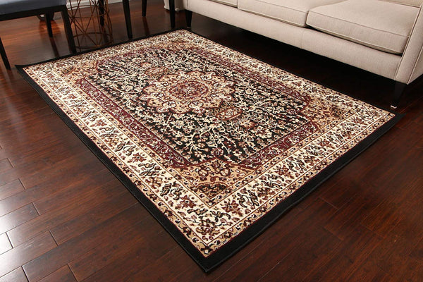 Generations New Black Oriental Traditional Isfahan Persian Area Rugs Rug 8050black 9' x 12'5