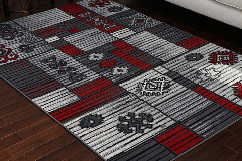 Generations Collection 100% Olefin Brand New Contemporary Grey Silver Red White Modern Squares Area Olefin Rug Rugs 8053Silver 4'2 x 5'3 4x6