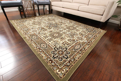 Generations New Green Oriental Traditional Isfahan Persian Area Rugs Rug 8051green 2 x 3