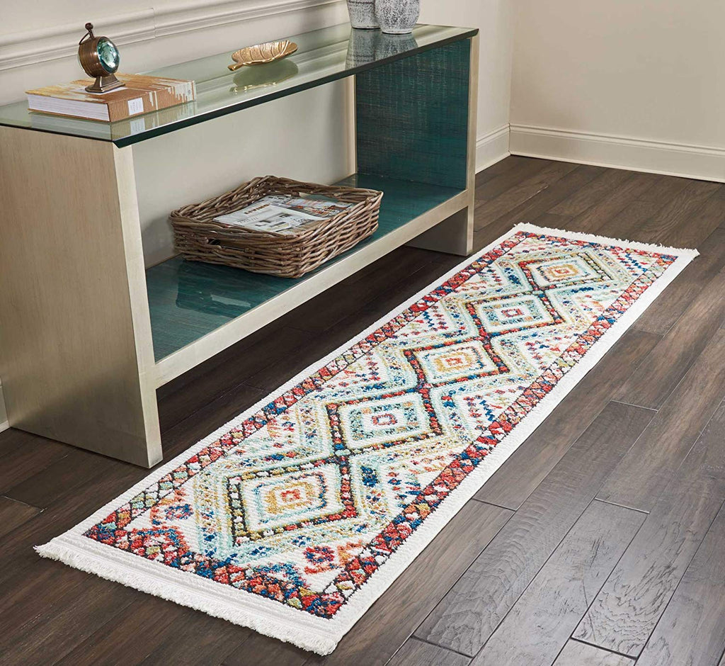 "Nourison TRL02 Tribal Décor Traditional Colorful Area Rug, 2'2"" x 7'9""(026093), White"