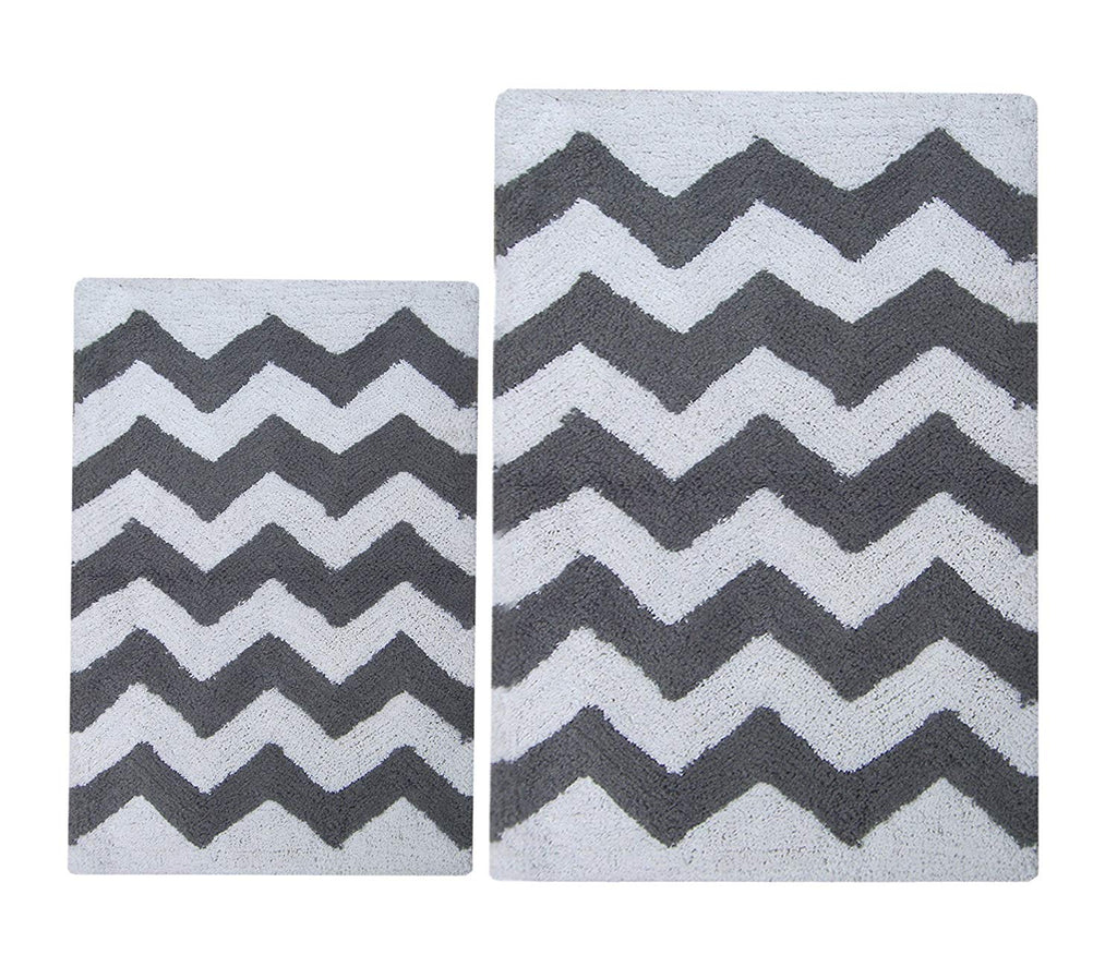 Chardin Home - 100% Pure Cotton - 2 Piece Chevron Bath Rug Set (21''x34'' & 17''x24'') with Latex spray anti-skid backing, Charocal Gray White