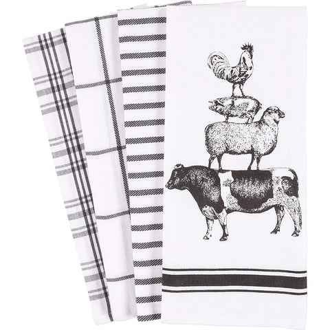 KAF Home Pantry Stacked Farm Animals Kitchen Dish Towel 18 x 28-inch Set of 4